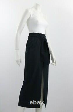 Nanushka Long Belted Maxi Skirt Textured Navy Blue Size S Made in Hungary