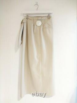 Nanushka Women's Cream Vegan Leather Tie Waist Wrap Skirt Size M #24/5148M FB