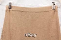 Neiman Marcus Tan 100% Cashmere Sweater Knit Slim A-Line Long Maxi Skirt Sz M