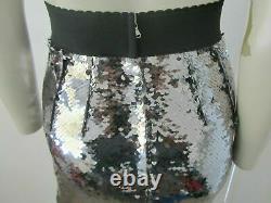 New £2700 Dolce & Gabbana Silver Sequin Fishtail Hem Maxi Skirt