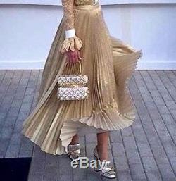 New $495 Alice + Olivia Katz Sunburst Gold Pleated Maxi Long Dress Midi Skirt 8