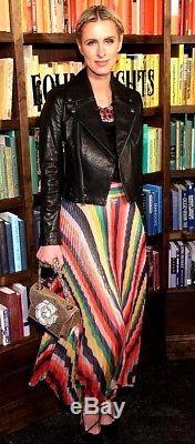 New $660 Alice + Olivia Katz Starburst Rainbow Pleat Maxi Long Striped Skirt 0