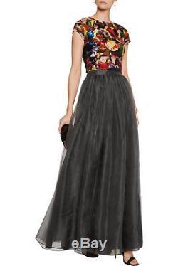 New Alice + Olivia Abella Silk Organza Maxi Skirt, Gray, NWT, SZ 0, Silk $698
