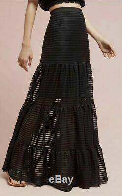 New Anthropologie Tracy Reese Savannah Black Maxi Skirt Size Small