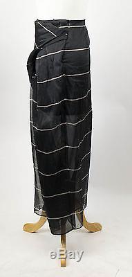 New. BRUNELLO CUCINELLI Gray Striped Silk Maxi Skirt Size 8/44 $1945