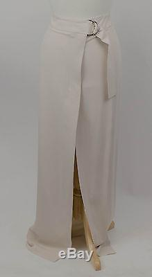 New. BRUNELLO CUCINELLI Ivory Silk Belted Maxi Skirt Size 8/44 $1765