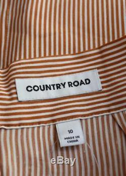 New COUNTRY ROAD Sold-Out Toffee White Mini Stripe Linen Blend Maxi Skirt 10