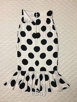 New DOLCE & GABBANA White Black Polka Dot Pencil Flare Long Maxi Dress Skirt 40