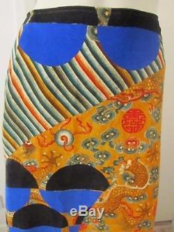 New Dries Van Noten Chinese Dragon Geometric Print Velvet Maxi Skirt RRP £1255