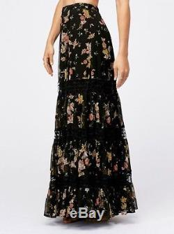 New Free People Black Floral Lace Morning Star Tiered Maxi Skirt $268 Sz 0