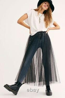 New Free People Intimately Sz L Sheer Tulle Maxi Slip Skirt In Black