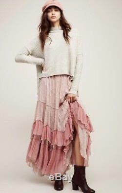New Free People See You Tonight Pink Ruffle Maxi Gypsy Boho Skirt Size 6