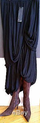 New IOANNA KOURBELA Athins MAXI DRESS Stunning Black DRAPE SKIRT Super Unusual