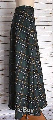 New J. Crew Collection Maxi Skirt In Tartan Size 12 Green Blue F8840