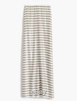 New J Crew Collection Stripe Sequin Maxi Skirt Khaki White Sz 16 G4962