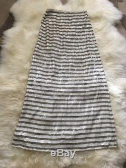 New J Crew Collection Stripe Sequin Maxi Skirt Khaki White Sz 8 G4962