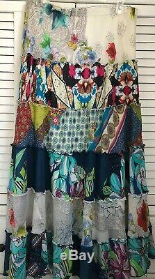 New Johnny Was Patchwork Liana Tiered Maxi Skirt Long Boho Sz XL & Large $288