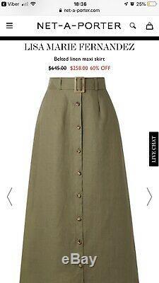 New Lisa Marie Fernandez Belted Linen Maxi Trending Skirt Size XS/S Net-a-Porter