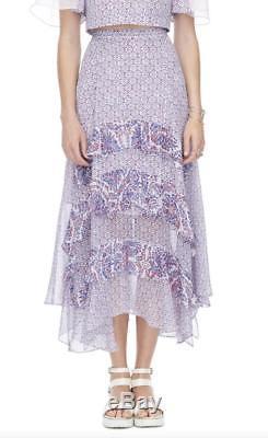 New REBECCA TAYLOR Purple White Paisley Print Silk Ruffle Boho Maxi Skirt 2 $425