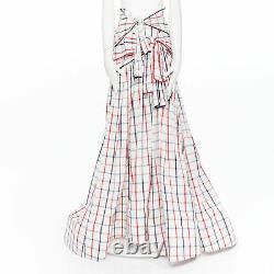 New ROSIE ASSOULIN 2018 Runway Tri-Tie red blue check print gown skirt US2 S