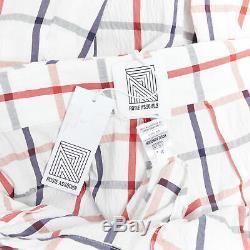 New ROSIE ASSOULIN SS18 Runway Tri-Tie check cotton blend seersucker gown skirt
