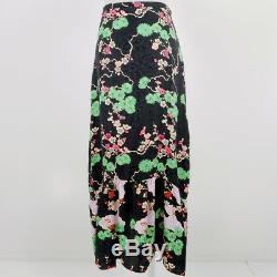 New Rixo London Women's Skirt Black Size S AU 6 Silk Cherry Blossom Leandra Maxi