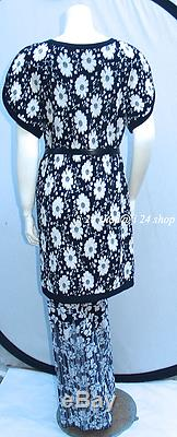 New Tags Chanel 14p 14c Black Ecru Camellia Jacquard Knit Maxi Wrap Skirt -40