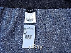 New Tags Chanel 14p 14c Resort Black Ecru Camellia Logo Maxi Wrap Skirt -40