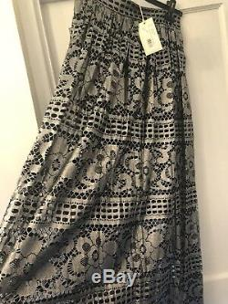 New Temperley London Black & Silver Cotton & Silk Ora Lace Long Party Skirt, 12