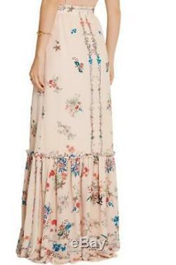 New VILSHENKO Lily Pink Floral Print Silk Crepe Long Maxi Skirt UK8