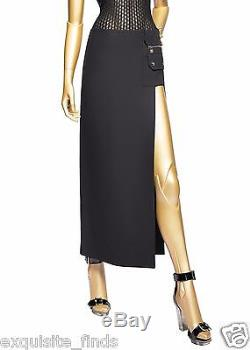 New Versace Black Silk Cut-Out Open Thigh Maxi Skirt 38 4