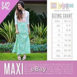 New Women's Lularoe Lot of 24 Maxi Skirt Size Small 24 unique patterns