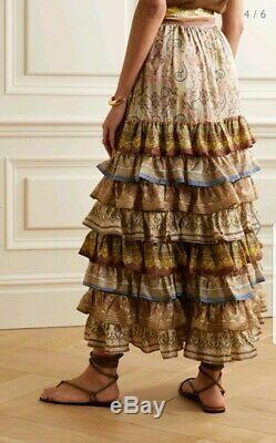 New Zimmermann freja tiered maxi skirt silk long spliced 0 6 8 XS S