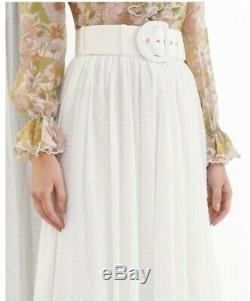 New Zimmermann super eight dot maxi skirt ivory 0P 0 1 2 3 XS S M L 6 8 10 12 14
