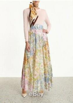 New Zimmermann super eight maxi skirt ruffle shirt mixed floral 0 1 6 8 10 S M