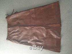 Next Tan long real leather skirt size 16