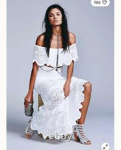 Nightcap Clothing White Spanish Lace Set, Top and Maxi Skirt, Small $260 ($540)