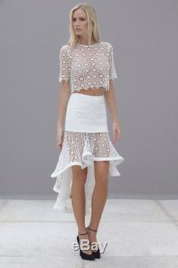 Nwd $550 Alexis Franchesca White Hi Low Eyelet Maxi Skirt M
