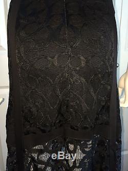 Nwt $550 Alexis Krefeld' Black Lace Maxi Skirt Xs Gorg