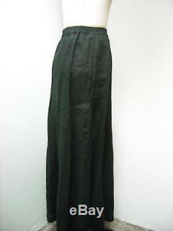 Nwt eskandar gored skirt linen maxi black size 2