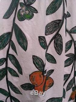 ORANGE BLOSSOM MAXI SKIRT. Handmade, Hand Painted. Specialty. Cotton. XS-XL 0-14