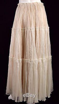 OSCAR DE LA RENTA S12 Runway Nude Silk Organza Tiered Maxi Skirt