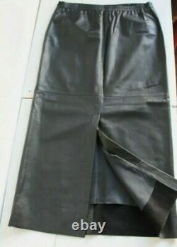 OSKA Maxi Long Black Leather Skirt Pockets Elastic Back Waist Back Split UK16/18