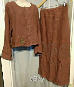 Outstanding Vtg Blue Fish 2-Piece HEMP Set Long Maxi Skirt + Top/Jacket Size 1