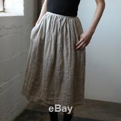 Ovate Double Layer Linen Skirt M