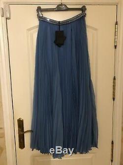 PRADA Sy Blue Maxi Crystals Jewel Waist Pleated Skirt Size IT 40 UK 8 BNWT