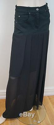 PREEN LINE Black Cotton Stretch Sheer Pleated Long Length Lined Maxi Skirt SzM