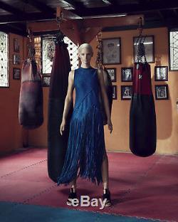 PROENZA SCHOULER SS15 blue hemp linen basketweave fringed maxi skirt US2 25 S