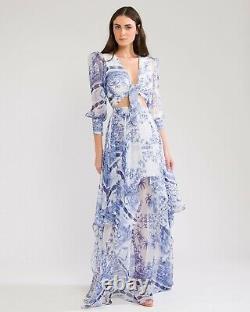 PatBO Amalfi Maxi Skirt Blue & White Tiered Chiffon Resort Luxury 0 NWT $495