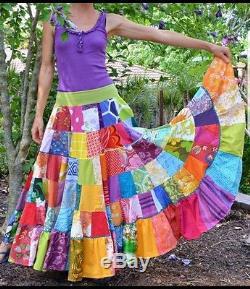 Patchwork Rainbow Full Sweep Tier Boho Long Floral Gypsy Shabby Maxi Skirt S/m